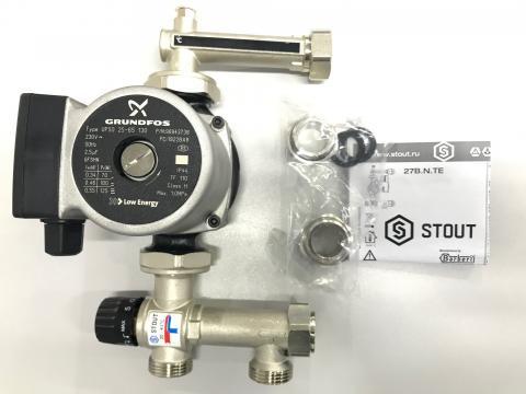 Насосно-смесительный узел с термостатическим клапаном 20-43°C, с насосом UPSO25-65 (Stout - Италия)