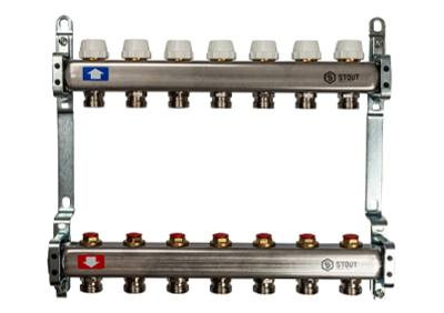 Коллектор с запорными клапанами 4 вых. (Stout - Италия)