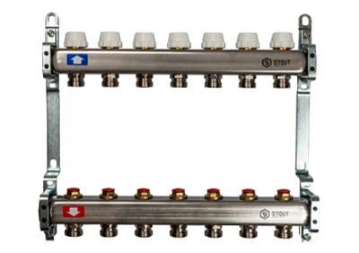 Коллектор с запорными клапанами 2 вых. (Stout - Италия)