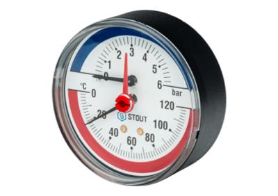 """Термоманометр аксиальный с автоматическим запорным клапаном корпус ? 80 мм 0...6 бар, 0…120°С  1/2"""" (Stout - Италия)"""