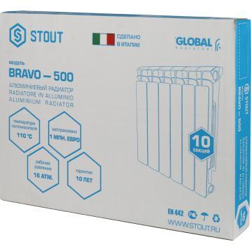 Алюминевый радиатор Bravo 350 12 секции (Stout - Италия)