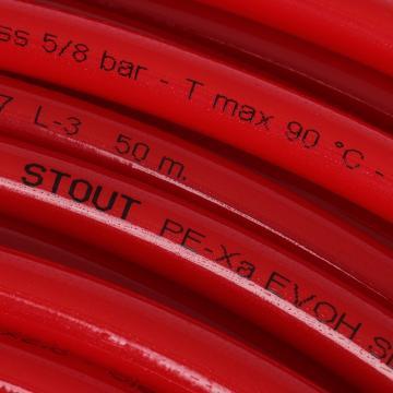 Труба PE-Xa/EVOH 16х2,0 для теплого пола, красная, 200м (Stout - Испания)