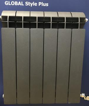 Global STYLE PLUS 500 10секции радиатор биметаллический боковое подключение (цвет cod.07 grigio scuro opaco mettalizzato 2748 (Темно-серый матовый металлик)