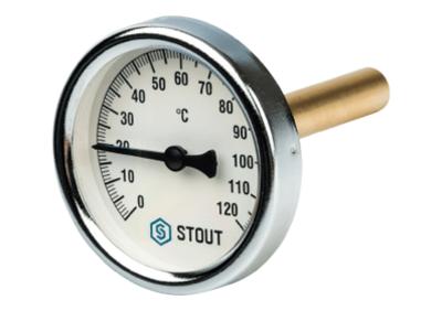 Термометр биметаллический с погружной гильзой корпус ? 63 мм, гильза 50 мм 1/2 (Stout - Италия)